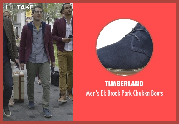 Timberland blue boots from Quantico seen with Simon Asher (Tate Ellington)