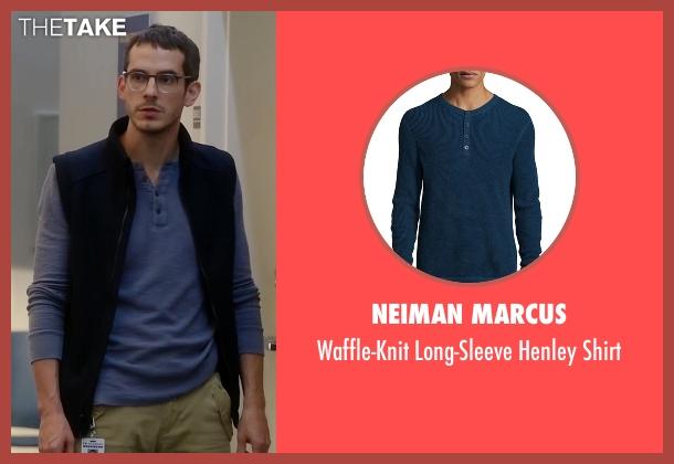 Neiman Marcus blue shirt from Quantico seen with Simon Asher (Tate Ellington)