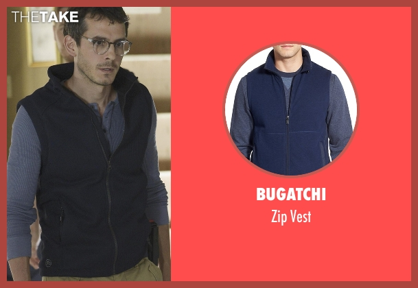 Bugatchi blue vest from Quantico seen with Simon Asher (Tate Ellington)