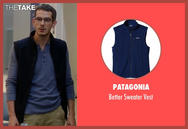 Patagonia blue vest from Quantico seen with Simon Asher (Tate Ellington)