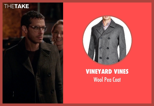 Vineyard Vines gray coat from Quantico seen with Simon Asher (Tate Ellington)
