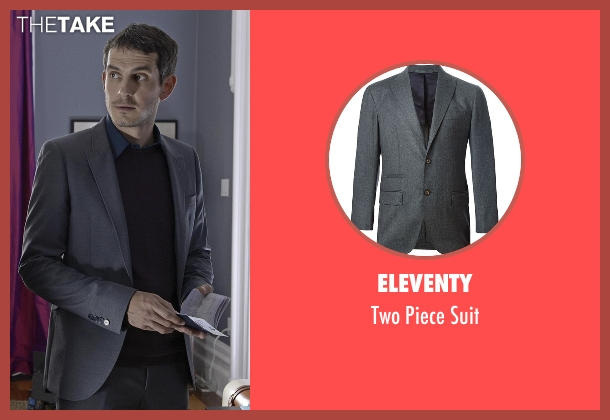 Eleventy gray suit from Quantico seen with Simon Asher (Tate Ellington)
