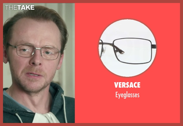 Versace black eyeglasses from Absolutely Anything seen with Simon Pegg (Neil Clarke)