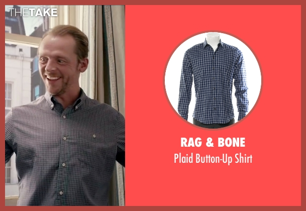 Rag & Bone blue shirt from Absolutely Anything seen with Simon Pegg (Neil Clarke)