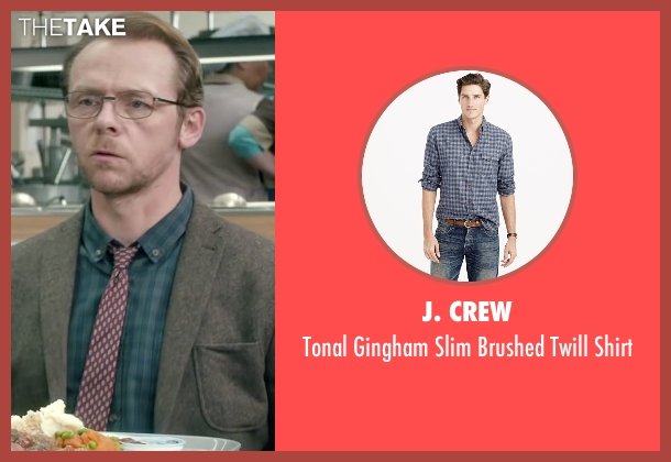 J. Crew blue shirt from Absolutely Anything seen with Simon Pegg (Neil Clarke)
