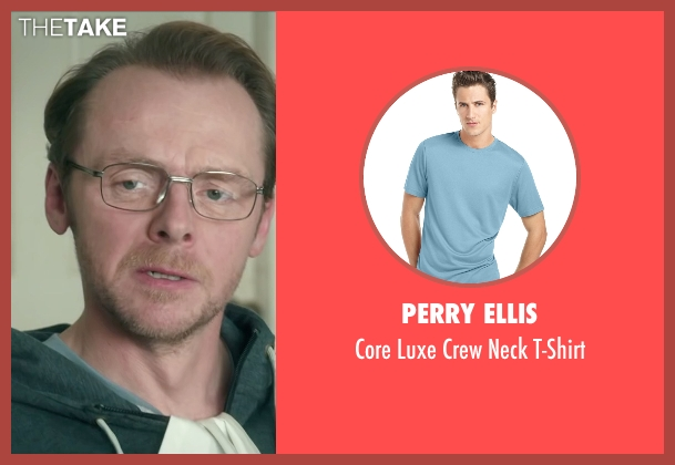 Perry Ellis blue t-shirt from Absolutely Anything seen with Simon Pegg (Neil Clarke)