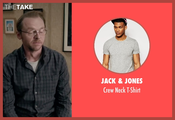 Jack & Jones gray t-shirt from Absolutely Anything seen with Simon Pegg (Neil Clarke)