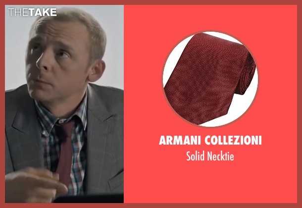 Armani Collezioni red necktie from Mission: Impossible - Ghost Protocol seen with Simon Pegg (Benji Dunn)