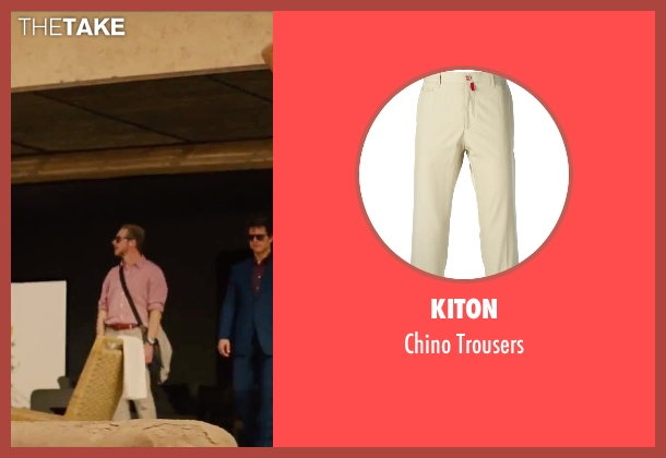 Kiton beige trousers from Mission: Impossible - Rogue Nation seen with Simon Pegg (Benji Dunn)