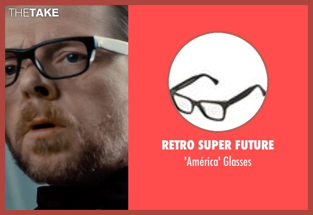 Retro Super Future black glasses from Mission: Impossible - Rogue Nation seen with Simon Pegg (Benji Dunn)