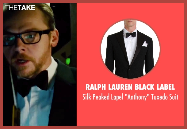 Ralph Lauren Black Label black suit from Mission: Impossible - Rogue Nation seen with Simon Pegg (Benji Dunn)