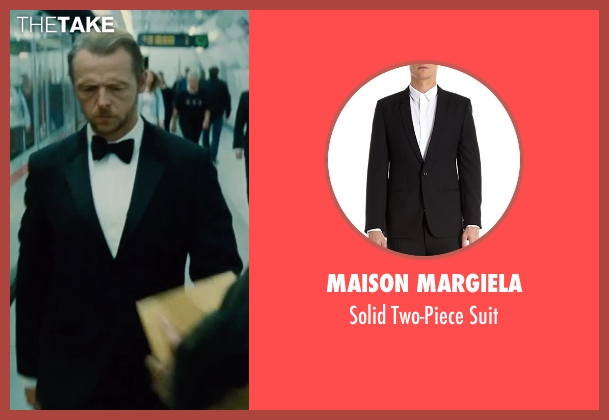 Maison Margiela black suit from Mission: Impossible - Rogue Nation seen with Simon Pegg (Benji Dunn)
