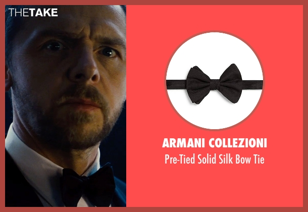 Armani Collezioni black tie from Mission: Impossible - Rogue Nation seen with Simon Pegg (Benji Dunn)