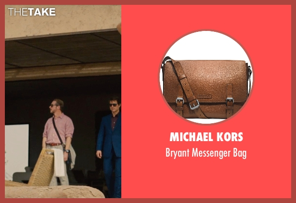 Michael Kors brown bag from Mission: Impossible - Rogue Nation seen with Simon Pegg (Benji Dunn)