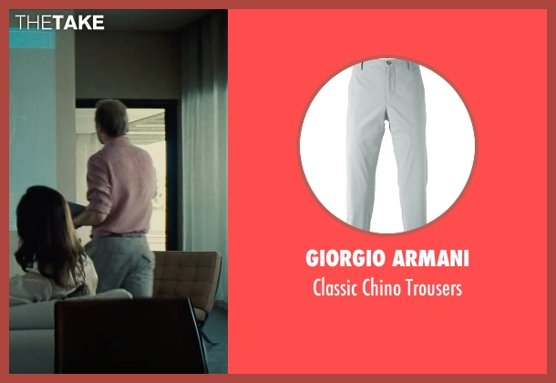 Giorgio Armani gray trousers from Mission: Impossible - Rogue Nation seen with Simon Pegg (Benji Dunn)