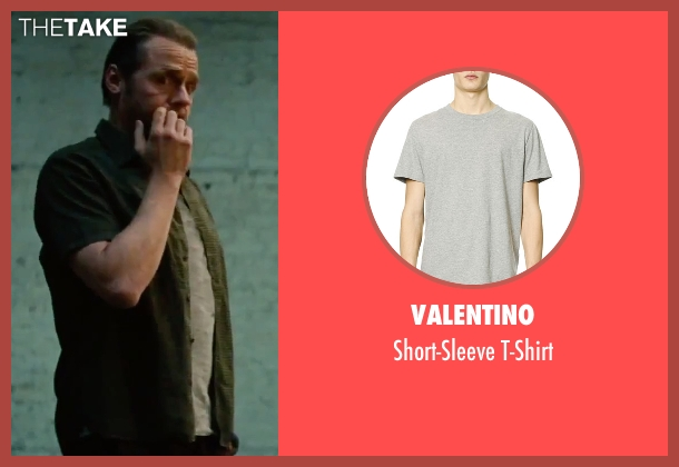 Valentino	 gray t-shirt from Mission: Impossible - Rogue Nation seen with Simon Pegg (Benji Dunn)