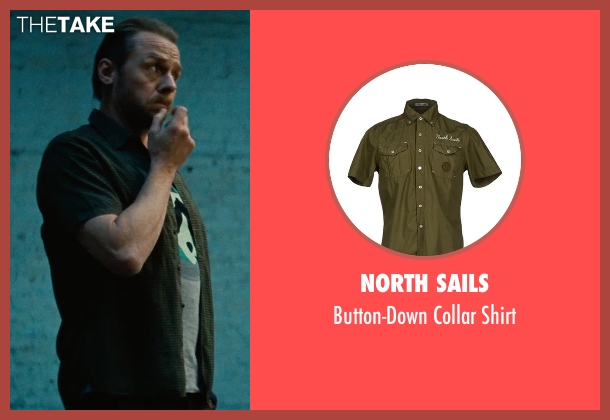 North Sails green shirt from Mission: Impossible - Rogue Nation seen with Simon Pegg (Benji Dunn)