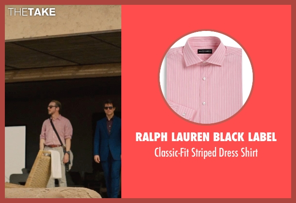 Ralph Lauren Black Label pink shirt from Mission: Impossible - Rogue Nation seen with Simon Pegg (Benji Dunn)