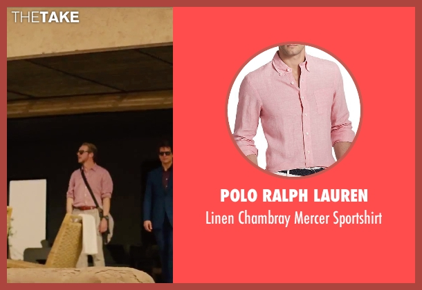 Polo Ralph Lauren pink sportshirt from Mission: Impossible - Rogue Nation seen with Simon Pegg (Benji Dunn)