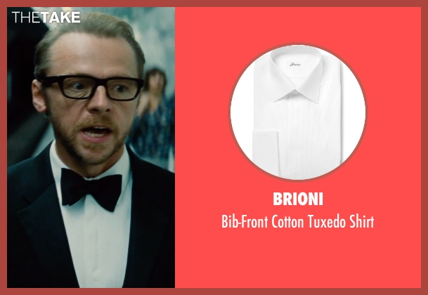 Brioni white shirt from Mission: Impossible - Rogue Nation seen with Simon Pegg (Benji Dunn)