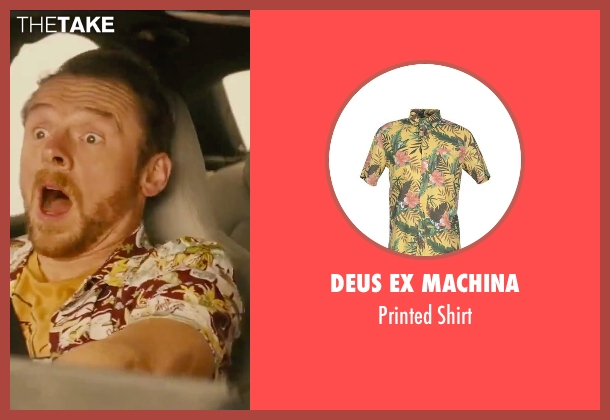 Deus Ex Machina yellow shirt from Mission: Impossible - Rogue Nation seen with Simon Pegg (Benji Dunn)
