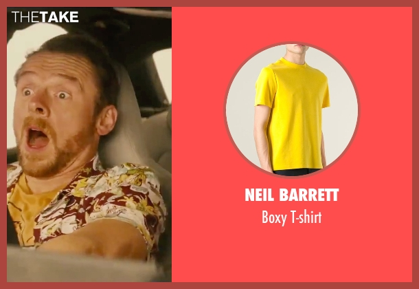 Neil Barrett yellow t-shirt from Mission: Impossible - Rogue Nation seen with Simon Pegg (Benji Dunn)