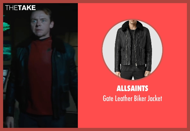 AllSaints black jacket from Star Trek Beyond seen with Simon Pegg (Scotty)