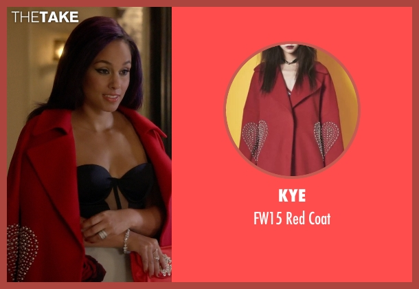 Kye red coat from Empire seen with Skye Summers (Alicia Keys)