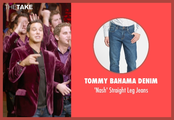 Tommy Bahama Denim blue jeans from Pitch Perfect 2 seen with Skylar Astin (Jesse)