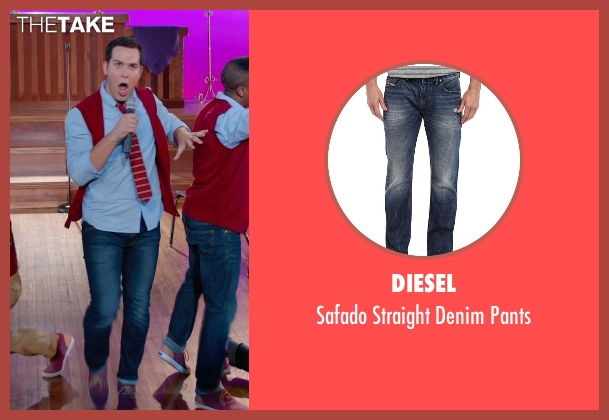 Diesel blue pants from Pitch Perfect 2 seen with Skylar Astin (Jesse)