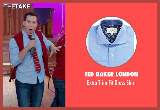 Ted Baker London blue shirt from Pitch Perfect 2 seen with Skylar Astin (Jesse)
