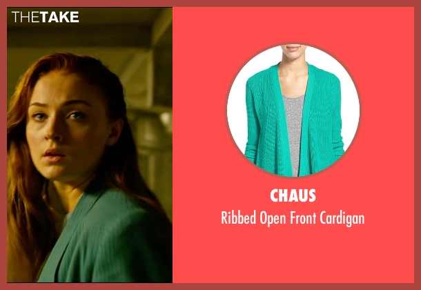 Chaus green cardigan from X-Men: Apocalypse seen with Sophie Turner (Jean Grey)