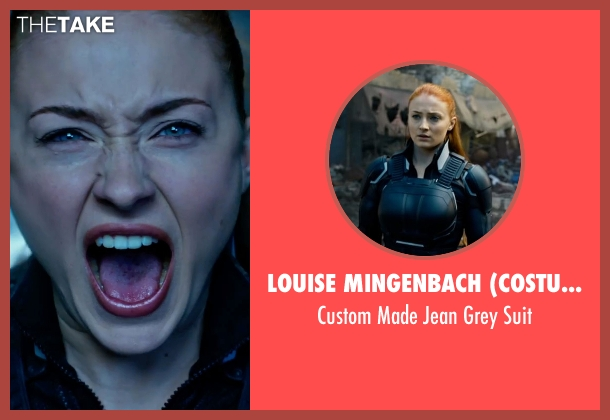 Louise Mingenbach (Costume Designer) suit from X-Men: Apocalypse seen with Sophie Turner (Jean Grey)