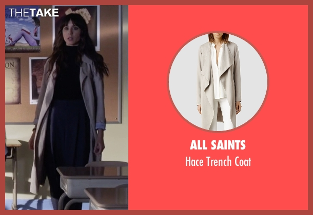 All Saints beige coat from Pretty Little Liars seen with Spencer Hastings  (Troian Bellisario)