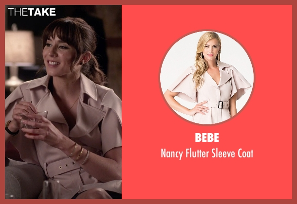 Bebe beige coat from Pretty Little Liars seen with Spencer Hastings  (Troian Bellisario)