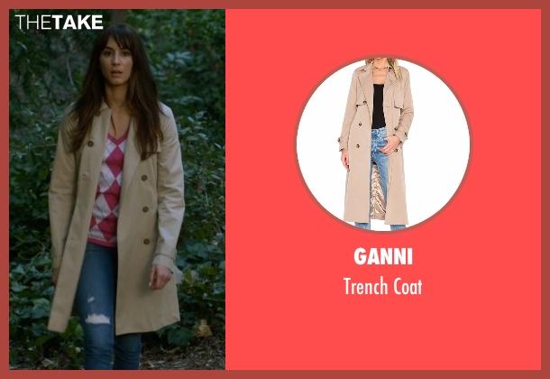 Ganni beige coat from Pretty Little Liars seen with Spencer Hastings  (Troian Bellisario)