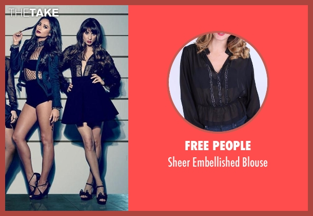Free People black blouse from Pretty Little Liars seen with Spencer Hastings  (Troian Bellisario)