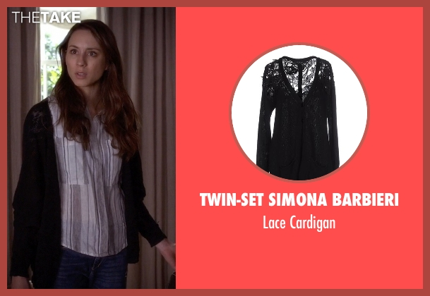 Twin-Set Simona Barbieri black cardigan from Pretty Little Liars seen with Spencer Hastings  (Troian Bellisario)