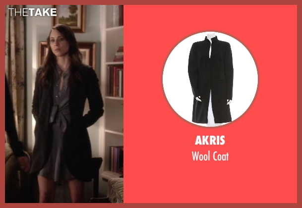 Akris black coat from Pretty Little Liars seen with Spencer Hastings  (Troian Bellisario)