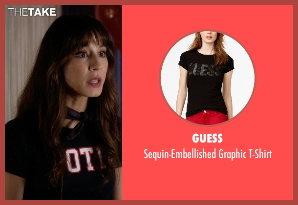 Guess black t-shirt from Pretty Little Liars seen with Spencer Hastings  (Troian Bellisario)
