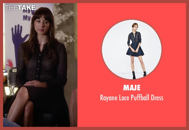 Maje blue dress from Pretty Little Liars seen with Spencer Hastings  (Troian Bellisario)