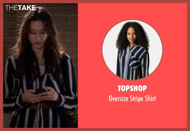 Topshop blue shirt from Pretty Little Liars seen with Spencer Hastings  (Troian Bellisario)