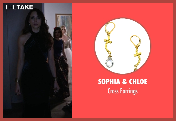 Sophia & Chloe gold earrings from Pretty Little Liars seen with Spencer Hastings  (Troian Bellisario)