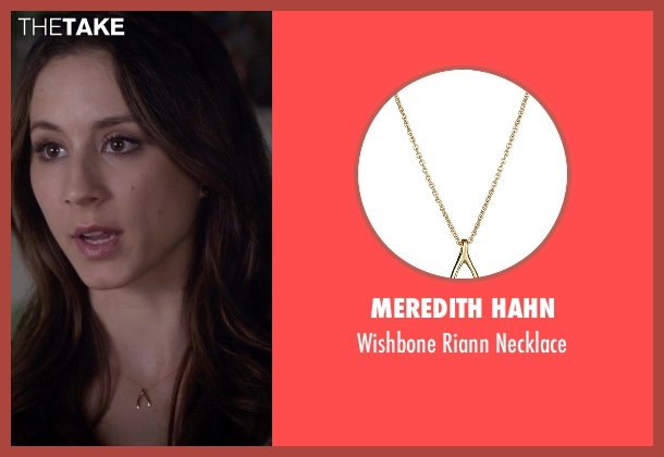 Meredith Hahn gold necklace from Pretty Little Liars seen with Spencer Hastings  (Troian Bellisario)