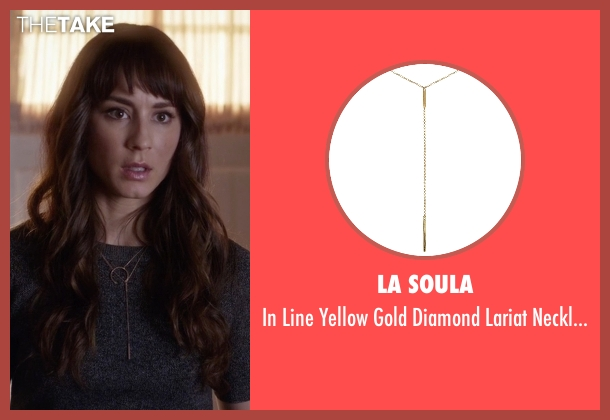 La Soula gold necklace from Pretty Little Liars seen with Spencer Hastings  (Troian Bellisario)