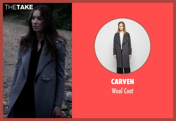 Carven gray coat from Pretty Little Liars seen with Spencer Hastings  (Troian Bellisario)