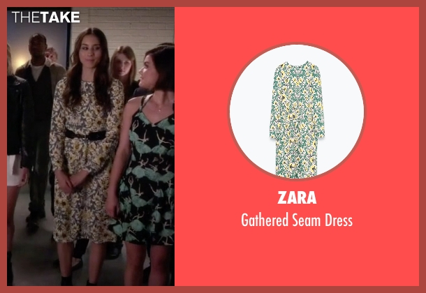 Zara green dress from Pretty Little Liars seen with Spencer Hastings  (Troian Bellisario)