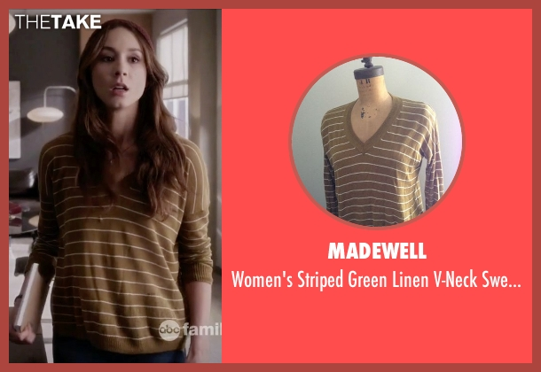 Madewell green sweater from Pretty Little Liars seen with Spencer Hastings  (Troian Bellisario)