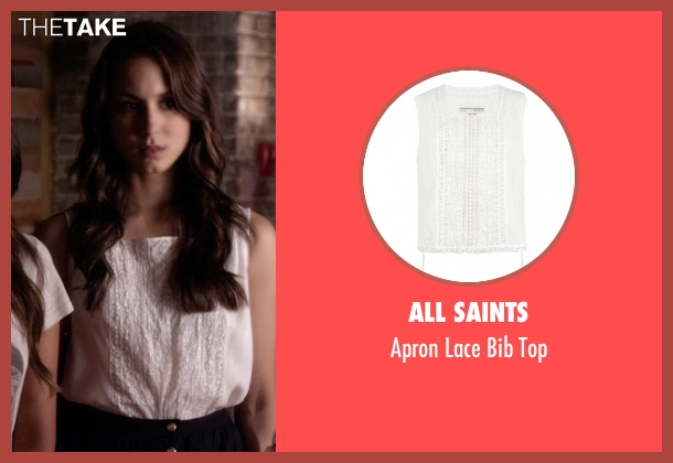 All Saints white top from Pretty Little Liars seen with Spencer Hastings  (Troian Bellisario)