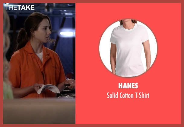 Hanes white t-shirt from Pretty Little Liars seen with Spencer Hastings  (Troian Bellisario)
